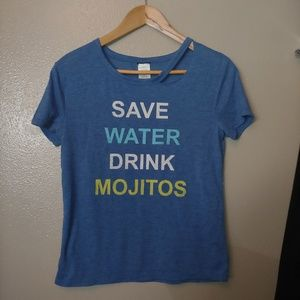 Mod Lux Graphic Cutout Tee Save Water Mojitos S